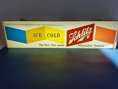 (VTG) 1954 schlitz beer ice coldback bar light up advertising sign milwaukee