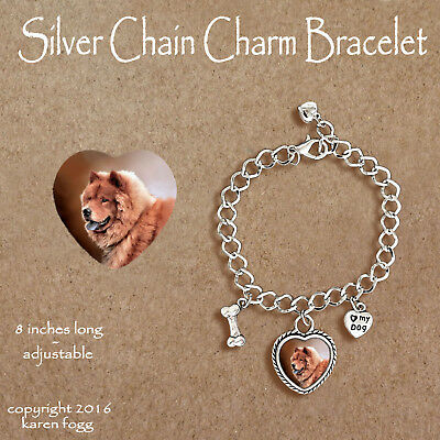 CHOW CHOW DOG Red - CHARM BRACELET SILVER CHAIN & HEART