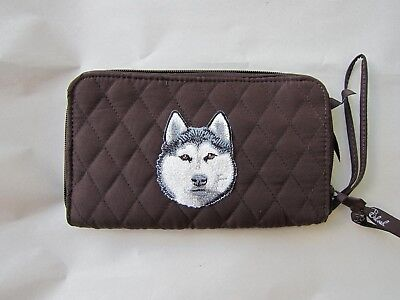 Belvah Quilted Fabric SIBERIAN HUSKY HEAD Dog Breed Zip Around Brown Ladies Wall