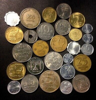 Vintage Israel Coin Lot - 30 Great Coins - 1949-PRESENT - Lot #M18