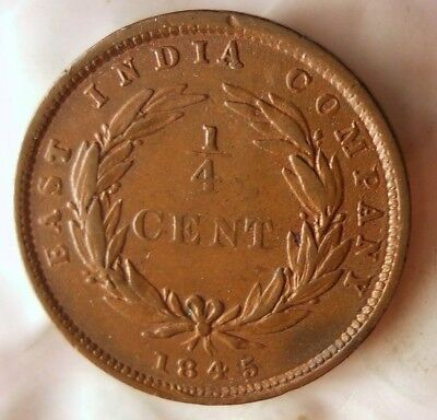 1845 BRITISH EAST INDIA (MALAYSIA) 1/4 CENT - High Grade Big Value Coin -Lot M18