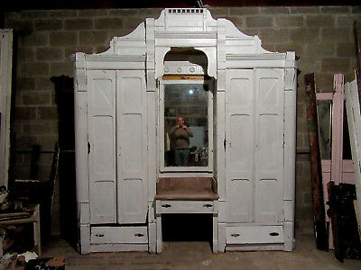 ANTIQUE CARVED WALNUT CLOSET FRONT~ BUILT IN ARMOIRE~ 110 x 115 ~ SALVAGE