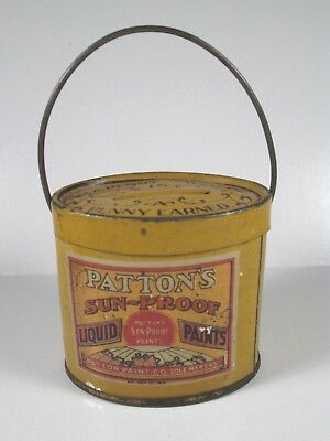 Tin LItho Advertising Bank - PATTON'S SUN-PROOF PAINT Pail w/ Bail Handle, 1910s