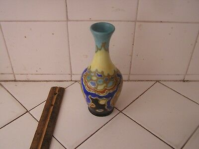 Antique Colorful Beautiful Gouda Pottery Vase Schoonhoven