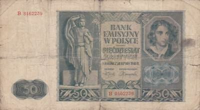 1941 Poland 50 Zlotych Note, Pick 102