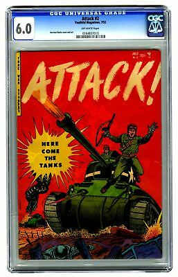 Attack #2 CGC 6.0 VINTAGE Youthful Magazines Golden Age 10c War Military