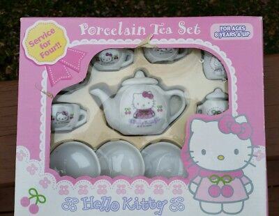 Gently used Hello Kitty porcelain tea set service for four