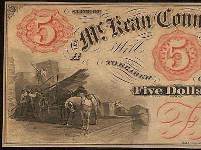 UNC 1850s $5 DOLLAR BILL Mc KEAN COUNTY BANK NOTE PENNSYLVANIA LARGE CURRENCY