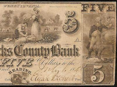 1841 $5 Dollar Berks County Bank Reading Pennsylvania Note Currency Paper Money
