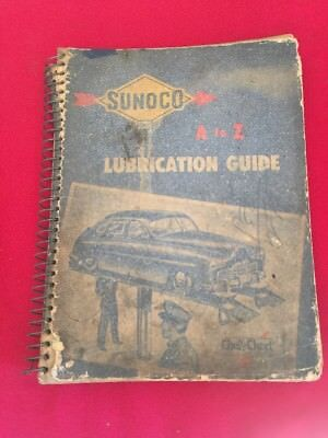 1948 SUNOCO A To Z LUBRICATION GUIDE Garage Station Manual Guide Chek-Chart Book