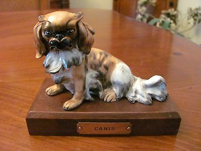 Vintage Porcelain Long Hair Chinese 'pekingese' Dog Figurine On Wood Base Euc