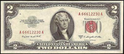 UNC 1953B $2 TWO DOLLAR BILL UNITED STATES LEGAL TENDER RED SEAL NOTE Fr 1511