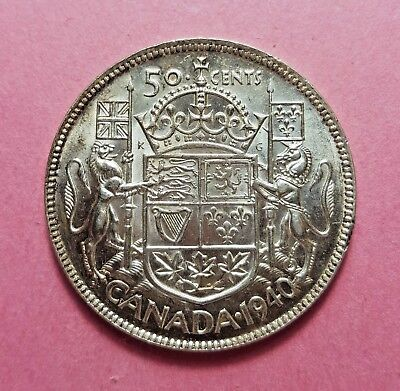Canada 1940 Fifty Cents UNC BU with No Reserve!!
