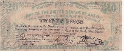 1943 Philippines Negros Army of the USA 20 Pesos Military Script Note, PS716a