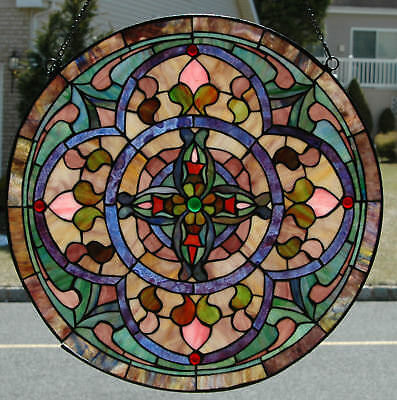 Traditional Round Stained Glass Hanging Window/ Wall Panel