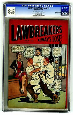 Lawbreakers Always Lose #4 CGC 8.5 HIGH GRADE Bell Features Comic Canada Ed 10c