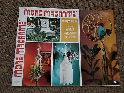 vtg 1976 More MACRAME pattern book chandelier lamp curtain CHAIR Seat plant