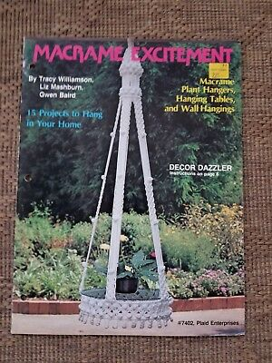 vtg 1980 Macrame Excitement pattern Plant Hangers Hanging tables wall 15 project