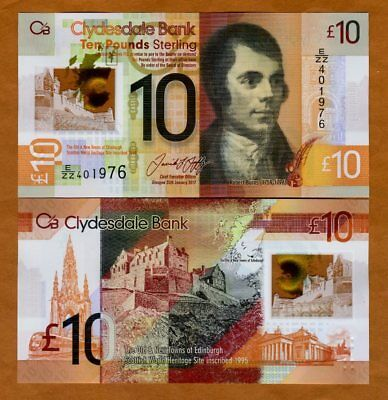 Scotland, Clydesdale Bank, 10 pounds 2017, P-New, POLYMER, UNC > REPLACEMENT