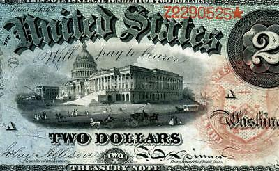HGR SUNDAY 1869 $2 X-RARE ((Rainbow Note)) ONLY LIGHTLY CIRCULATED
