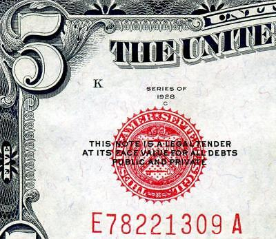 HGR SUNDAY 1928C $5 U.S.Note ((RED Seal)) Appears Very Near UNCIRCULATED