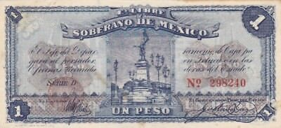 1915 Mexico Toluca 1 Peso Note, Pick S881