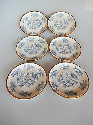 Hutschenreuther Arzberg 6 Coasters Blue and White Floral  Asian Design 1940s