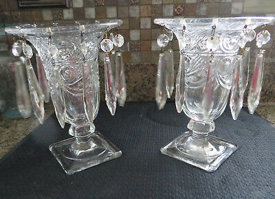 Elegant Pair of Vintage Clear Glass Vases with Crystal Prisms