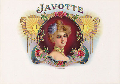 Vintage Javotte Inner Cigar Box Label Embossed Lithograph With Beautiful Woman