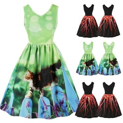 UK Womens Ladies Rockabilly Vintage 1950s 60s Swing Party Cocktail Evening Dress