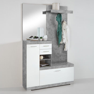 garderobe bristol 1000 kompaktgarderobe in beton grau wei edelglanz eur 168 95 picclick de. Black Bedroom Furniture Sets. Home Design Ideas