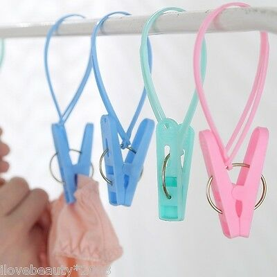12PCs Portable Hangers Rack Towel Clothespin Clothes Peg Home Travel Windproof