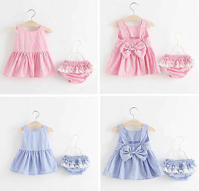 Summer Baby Girls Striped Bowknot Backless Dress+Shorts Pants Bloomers Clothes