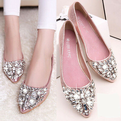 Womens Girls Crystal Shoes Wedding Party Flats Sapatos Loafers Pointed Toe Shoes