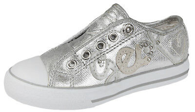 GEOX Girls Silver Slip On Pumps Kids Breathable Sports Trainers Shoes Size