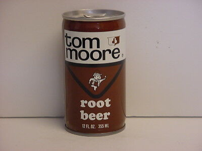 Tom Moore Root Beer Crimped Steel Lift Tab Top Opened Soda Can Coca-Cola Midwest