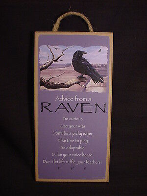 """ADVICE FROM A RAVEN wild black bird 10"""" X 5"""" Wood SIGN wall NOVELTY PLAQUE crow"""