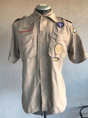 Boy Scouts of America YOUTH Large Mesh Poly Vented Khaki Uniform Shirt W/ Badges