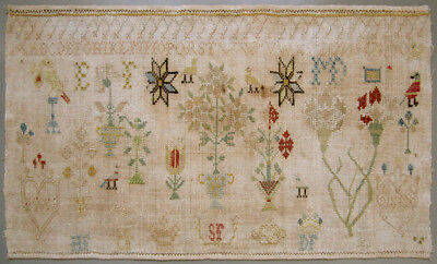 1818 Antique Dutch Silk On Linen Cross Stitch Needlework Sampler