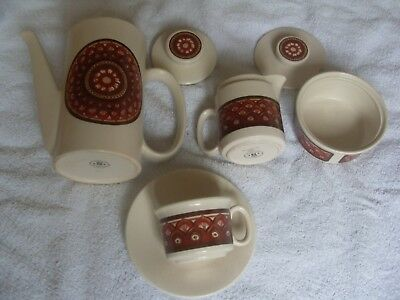 Coffee Set From Lord Nelson Pottery, Pot, Jug, Sugar Bowl & 6 Cups & Saucers,