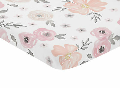 Pink Grey Gray Baby Fitted Mini Portable Crib Sheet Watercolor Floral Bedding