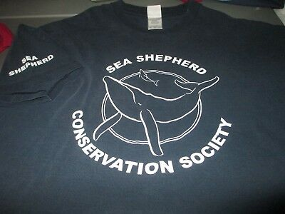 SEA SHEPHERD Conservation Society Whale Navy T Shirt XLarge