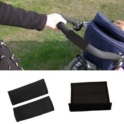 2X Baby Jogger Stroller Pushchair Armrest Fabric Protective Handle Cover Black