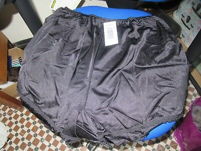 VTG CHARNOS THICKER GLOSSY NYLON & LACE, FRENCH KNICKERS PANTIES, Black