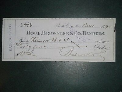 Hoge, Brownlee & Co. Bankers. Dec. 1, 1890. Butte City, Mont. Babcock & Co.