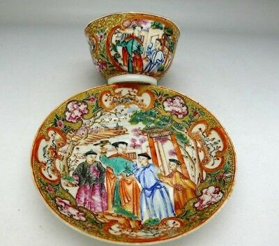 Chinese Antique RARE Cup & Saucer Hand Painted Scenes 1850 AUCTION NO RESERVE