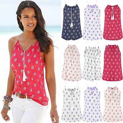 UK Boho Womens Summer Vest Tops Blouse Ladies Sleeveless Beach T-Shirt Plus Size