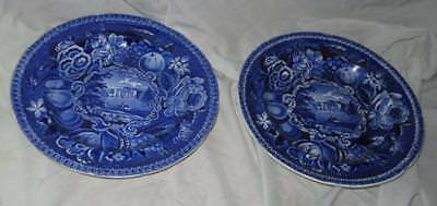 2 Staffordshire Transferware Plates, R. Hall's Select Views: Pain's Hill, 1800s
