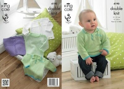 King Cole Baby Cardigans & Sweaters Giza Knitting Pattern 4190 DK (KCP-4...