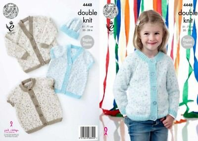 King Cole Girls Knitting Pattern Shaped or Straight Cardigans Smarty DK 4445